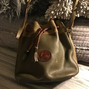 Dooney & Bourke Vintage Olive/tan Bucket Bag.